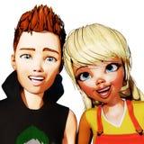 illustration 3D av Toon Kids Arkivbilder