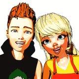 illustration 3D av Toon Kids Arkivfoton