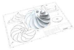 illustration 3D av turboladdareimpelleren royaltyfri illustrationer