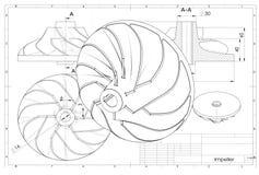 illustration 3D av turboladdareimpelleren stock illustrationer