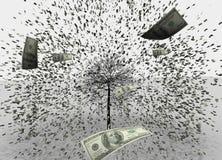 illustration 3D av vit bakgrund för USD-/Dollarregn, usd som hoppar från trädet royaltyfri illustrationer