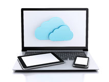 illustration 3d Bärbar dator, minnestavla och smartphone oklarhet som 2010 beräknar den microsoft smauen Royaltyfri Bild