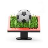 illustration 3d: Bildskärm med en fotbollboll Royaltyfria Foton