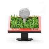 illustration 3d: Bildskärm med en golfboll Royaltyfri Foto