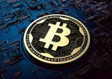 Illustration 3d Bitcoin-Währung auf Technologie-Hintergrund Stockbilder