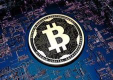 Illustration 3d Bitcoin-Währung auf Technologie-Hintergrund Stockbild