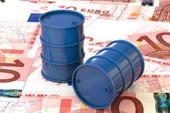 Illustration 3d: Blaue Barrel Erdöle liegen auf dem Hintergrund von Banknote zehn Euro, Europäische Gemeinschaft Geld Erdölgeschä Stockfotos