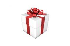 illustration 3d : Boîte-cadeau blanc avec le ruban/arc et l'étiquette en soie rouges sur un fond blanc d'isolement Images libres de droits