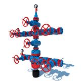 Illustration 3d Brunnen-Gasinstallations-Erdgasförderung rotes Blau vektor abbildung