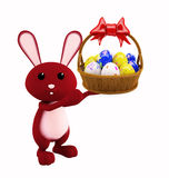 Illustration of 3d Bunny With egg basket. 3d Bunny With egg basket Royalty Free Stock Photo