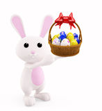 Illustration of 3d Bunny With egg basket Royalty Free Stock Image