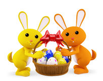 Illustration of 3d Bunny With egg basket. 3d Bunny With egg basket Royalty Free Stock Photography