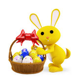 Illustration of 3d Bunny With egg basket. 3d Bunny With egg basket Stock Photos