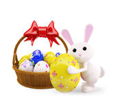 Illustration of 3d Bunny With egg basket. 3d Bunny With egg basket Stock Photo