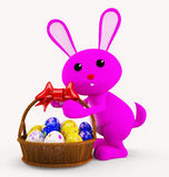 Illustration of 3d Bunny With egg basket. 3d Bunny With egg basket Royalty Free Stock Photos