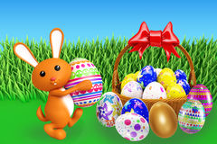 Illustration of 3d Bunny With egg basket. 3d Bunny With egg basket Stock Images
