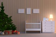 illustration 3D Childroom intérieur avec un arbre de Noël dans la couleur de biege illustration libre de droits
