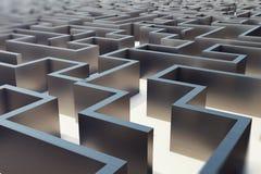 Illustration 3d cocrete Labyrinth, komplexes Lösen- von Problemenkonzept Vektor Abbildung