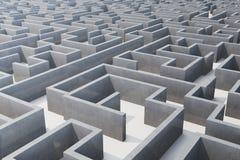 Illustration 3d cocrete Labyrinth, komplexes Lösen- von Problemenkonzept Lizenzfreie Abbildung