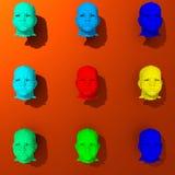 Illustration 3d colorée de basses poly têtes Photos stock