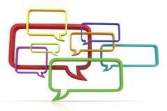 Illustration 3d conceptuelle des bulles de la parole Front View Photos libres de droits