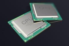 Illustration 3d CPU Chip, Zentraleinheitseinheit auf schwarzem Hintergrund Stockfotos
