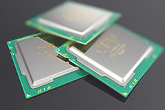 Illustration 3d CPU Chip, Zentraleinheitseinheit auf schwarzem Hintergrund stock abbildung