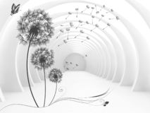 Illustration of 3D crystall ball silhouettes of dandelions pattern on decorative silver background 3D wallpaper and tunnel. . 3d mural for interior home royalty free stock images