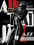 illustration 3D Cyborg élégant la femme avec la trompette Photo stock