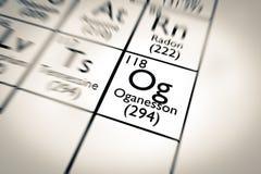 illustration 3D d'élément chimique d'Oganesson Photographie stock