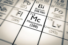 illustration 3D d'élément chimique de Moscovium Images stock