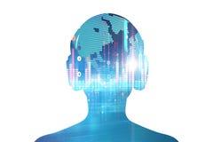 illustration 3d d'humain avec l'écouteur sur l'abstra audio de forme d'onde Images stock