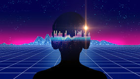 illustration 3d d'humain avec l'écouteur sur l'abstra audio de forme d'onde Image stock