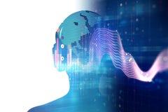 illustration 3d d'humain avec l'écouteur sur la forme d'onde audio Image libre de droits