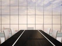 illustration 3d d'intérieur de bureau avec la table noire Photos libres de droits