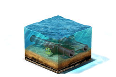 illustration 3d d'oléoduc avec la valve se trouvant sur le fond des océans sous l'eau Image stock
