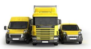 illustration 3D d'un camion un fourgon et un camion contre un CCB blanc Photos stock