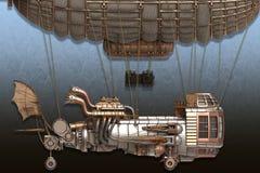 illustration 3d d'un dirigeable d'imagination dans le style de steampunk illustration stock