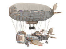 illustration 3d d'un dirigeable d'imagination dans le style de steampunk sur le fond blanc d'isolement Photographie stock