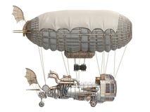 illustration 3d d'un dirigeable d'imagination dans le style de steampunk sur le fond blanc d'isolement Images stock