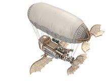 illustration 3d d'un dirigeable d'imagination dans le style de steampunk sur le fond blanc d'isolement Photographie stock libre de droits