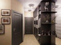 illustration 3D d'un hall dans des couleurs noires et blanches Images stock