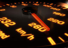 illustration 3D d'un tachymètre de voiture avec l'aiguille à 260km par Image stock