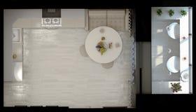 illustration 3d d'une cuisine dans des tons beiges illustration stock