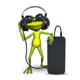 illustration 3D d'une grenouille avec des écouteurs avec Smartphone Photographie stock libre de droits