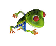 illustration 3d d'une grenouille verte courante de bande dessinée Photos stock