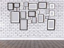 illustration 3D d'une photo sur un mur Photo stock
