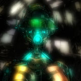 illustration 3D d'une tête de cyborg Image libre de droits