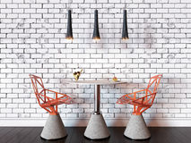 illustration 3D d'une table et des chaises de café contre un wa de brique Photographie stock libre de droits
