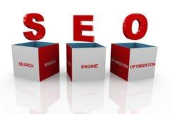 boîte 3d de seo - optimisation de moteur de recherche Image stock
